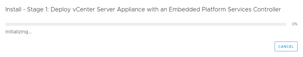 vCenter Server Appliance - Installation -  wait one