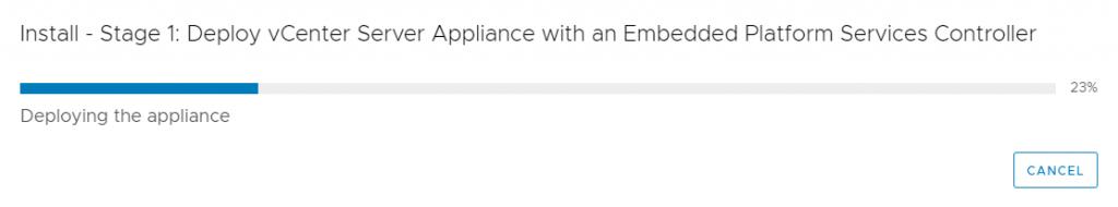 vCenter Server Appliance - Installation -  wait two