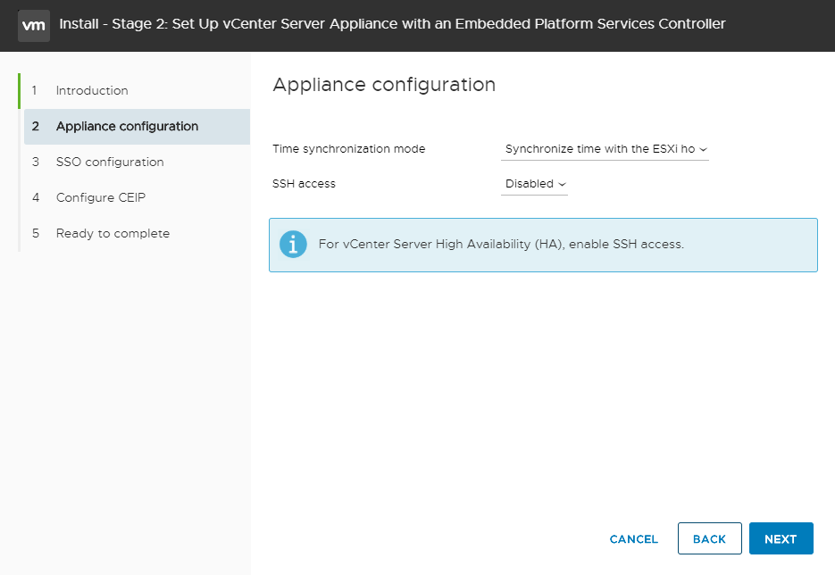 vCenter Server Appliance - Setup vCenter - NTP & SSH