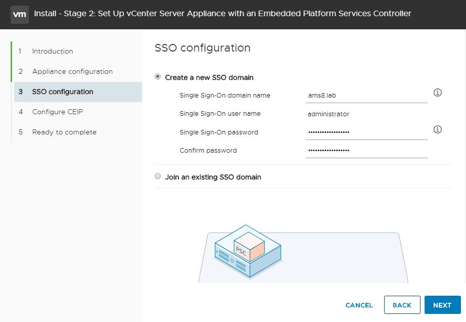 vCenter Server Appliance - Setup vCenter - Create Domain