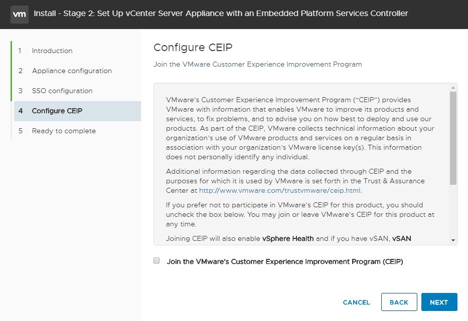 vCenter Server Appliance - Setup vCenter - CEI Program