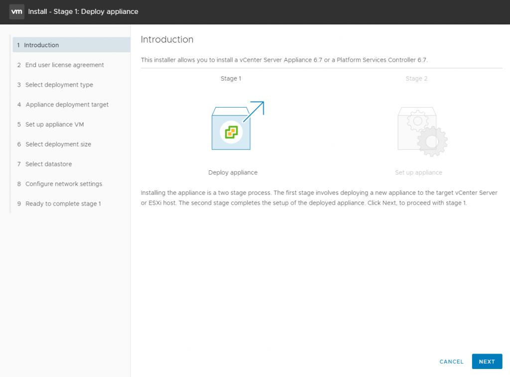 vCenter Server Appliance - Deploy Applicance