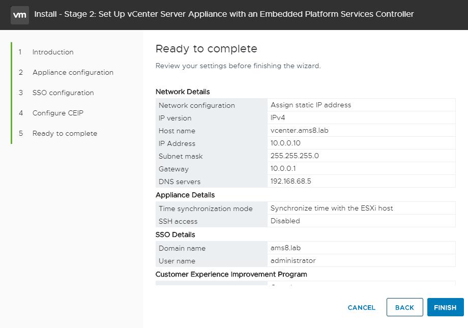 vCenter Server Appliance - Setup vCenter - Overview