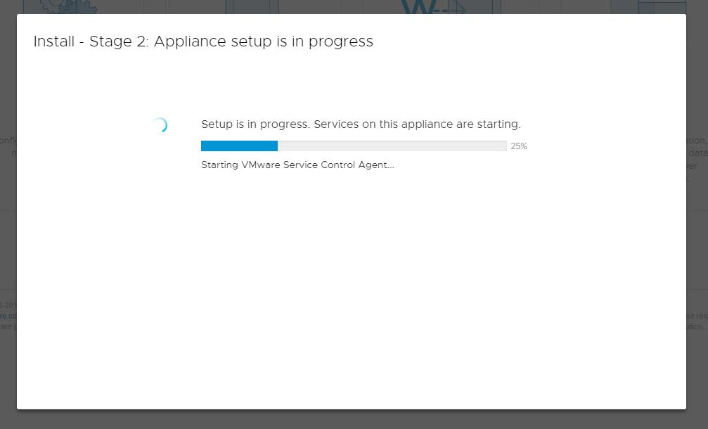 vCenter Server Appliance - Setup vCenter - Wait