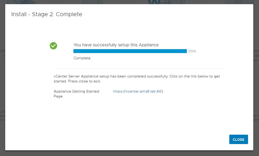 vCenter Server Appliance - Setup vCenter - Done