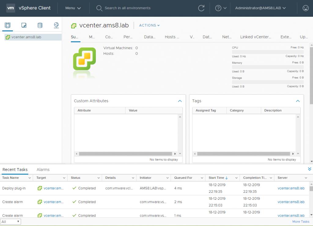 vCenter Server Appliance - Setup vCenter - Landing page