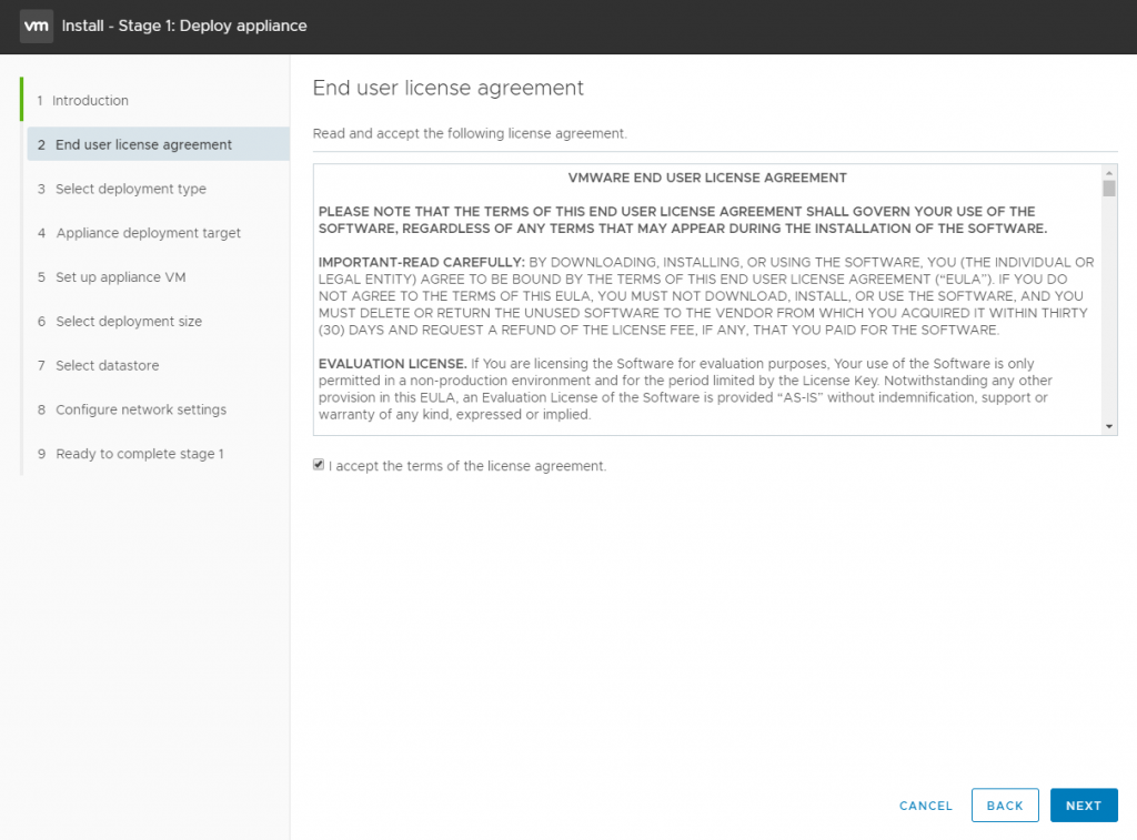 vCenter Server Appliance - Accept license