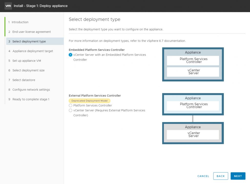 vCenter Server Appliance - Deplouyment type