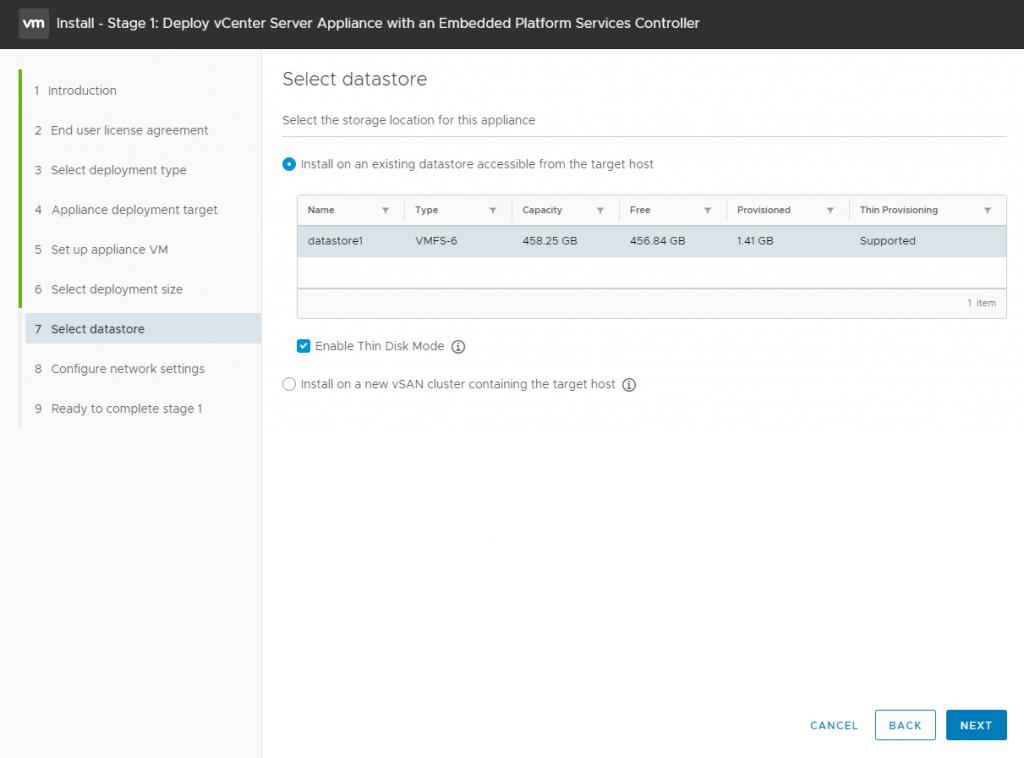 vCenter Server Appliance - select datastore
